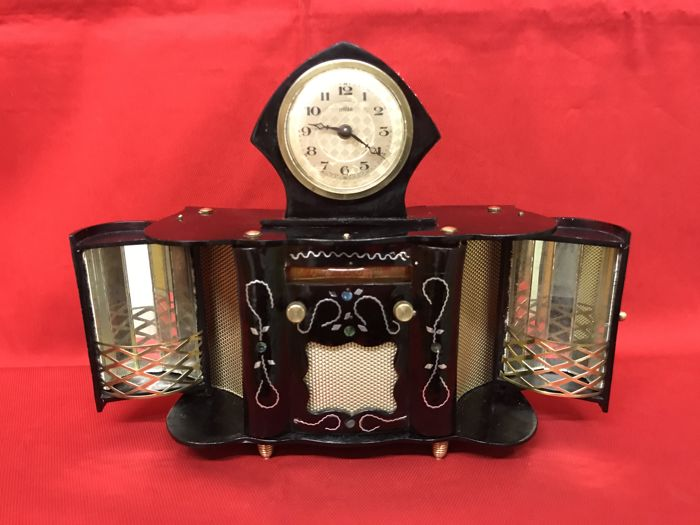 Rare console miniature of Bakelite - with clock and radio
