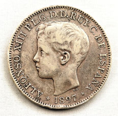 Spain – Alfonso XIII – 1 peso silver coin – 1897 – Manila