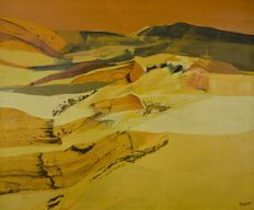 Unknown artist, signed: Boshoff - A desert abstract landscape