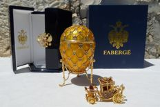 "Authentic Imperial Faberge Egg - Collector Egg (1 kg / 17 cm) - Luxury Edition ""Tatiana Faberge"" - Enamel -  Swarovski Rhinestones - 24k Gold finish."