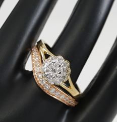 Set of 2 18k Yellow Gold 0.55 ct. Designer Diamond rings - ring size : 54 (FR) and 17 NL