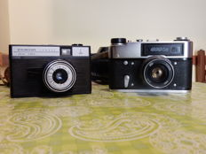 Lot consisting of 2 FED 5 B cameras with lens FED n-61 2.8/52 screw 39 and SMENA SIMBOL with their original cases