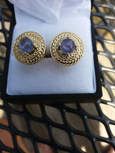 An Unbelievably Stunning Pair of Genuine Gold Plated Sterling Silver Tanzanite Midas Cufflinks