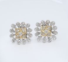 IGI Certified 18 kt/750 Yellow Gold Diamond Earrings - Diamonds 1.04 ct.
