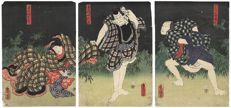 Original woodblock triptych by Utagawa Kunisada (1786 – 1865) – Three Kabuki Actors on Stage – Japan – 1858