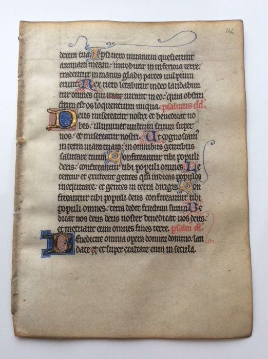 Manuscript; Illuminated handwritten leaf from a medieval book of hours - Metz / France - c. 1300