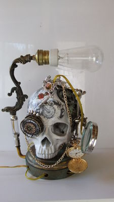 Steampunk Tattoo skull with vintage Edison bulb