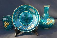 Baccarat Depose - 3-piece set: turquoise crystal bottle, dish and glass, France, circa 1900