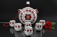 FP Zajecar - Vintage Porcelain Set with Flask and Six Cups
