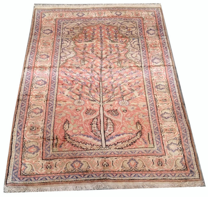 Fine Quality Hand Knotted Turkish Kaisery Silk Prayer Carpet Area Rug 125 cm x 90 cm