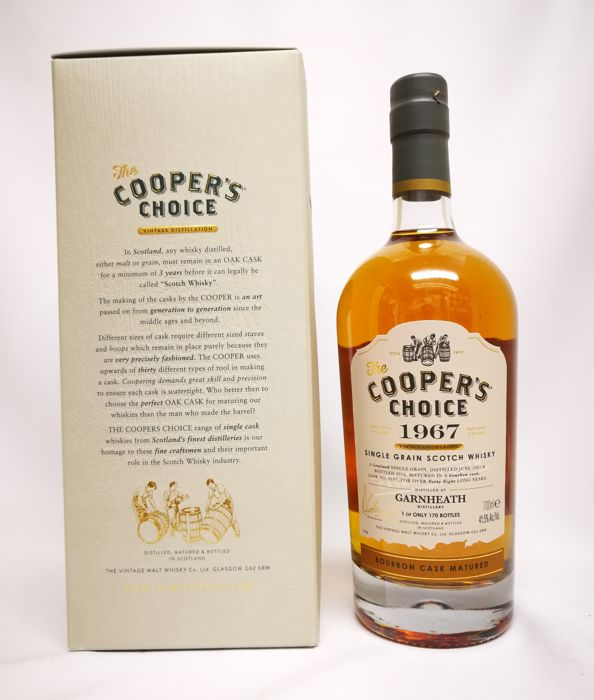 1967 Garnheath - 48 years old - ( closed distillery 1986 )  - Cooper's Choice – Single Grain – Single Cask - Distilled : 06/1967 – Bottled : 06/2016 – cask n° : 9157  – 41,50 % abv.