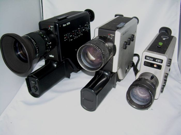 Lot of 3 Nizo super-8 film cameras