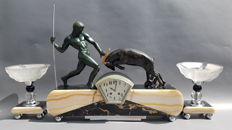 Kovas / Kowas - Impressive bronze and marble Art Deco mantle clock garniture