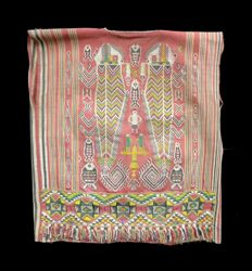 Very rare old woven vest with animal, human and aeroplane motif - IBAN DAYAK - Kalimantan - Indonesia