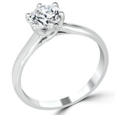 1.13 Ct Diamond Engagement Ring white Gold - Ring Size: 6.75 N1/2 (can be resized)