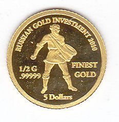 "Solomon Islands - 5 Dollars 2010 ""Russian Gold Investment 2010"" - gold"