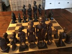 Old handmade wooden chess pieces - from Swaziland
