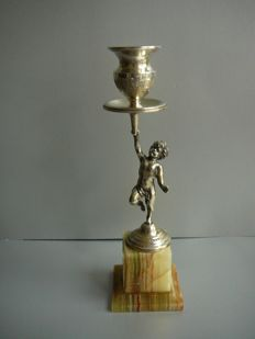 Silver candle stand with Cherubs on marble base basement, Italy