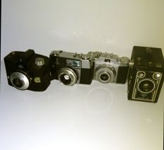 A lot of 4 beautiful Agfa camera's *Agfa Synchro Box france* *Agfa Silette-LK* *Agfa Silette* *Agfa Clack*