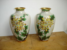 Pair of 2 large vases - Cloisonné Enamelled Metal - China - Second half of the 20th century
