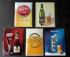 Collection of 5 metal profiled advertising signs for Belgian beers