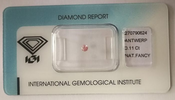 Natural Fancy Pink Diamond 0.11 ct  with IGI cert *** no minimum price***