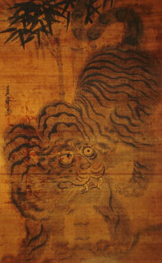 "Antique hanging Scroll - ""Fierce Tiger and Bamboo"" by Kano Sanraku - Early Edo Period"