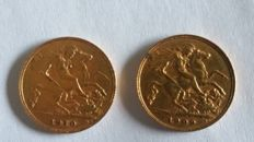 Great Britain – ½ Sovereign 1909 & 1910 (lot of 2 coins) – Edward VII – Gold.
