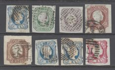 Portugal 1855/1856 - Dom Pedro V small lot of stamps - Yvert 6/12