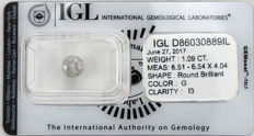 1.09 ct brilliant cut diamond  G  I3
