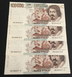 Italy - 4 x 100.000 Lire 1983 - Pick 110 - consecutive numbers