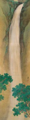 Impressive and highly detailed handpainted scroll painting on cloth of a waterfall in a mountain landscape, signed / sealed - Japan - Early 20th century