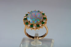 Yellow gold ring with central opal, emeralds and diamonds — size 14, free resizing