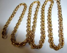 14 kt / 585 gold necklace in twirled cord pattern, length 43 cm, thickness 3 mm *no reserve price*