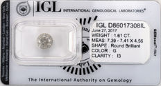 1.61 ct brilliant cut diamond  G  I3