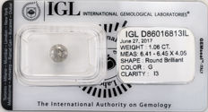 1.06 ct brilliant cut diamond  G  I3