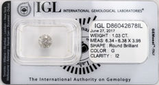 1.03 ct brilliant cut diamond  G  I2