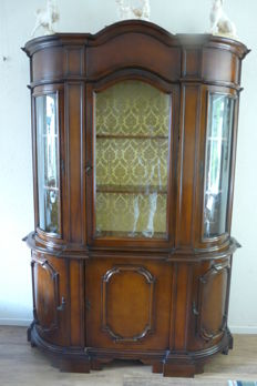 Classic walnut display cabinet, mid-20th century