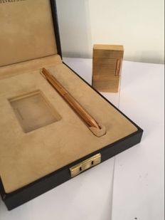 Dupont lighter and gold plated ballpoint pen set.