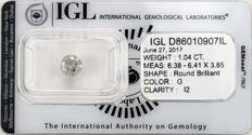 1.04 ct brilliant cut diamond  G  I2