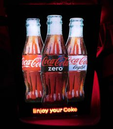 """Beautiful plastic """"Coca-Cola"""" illuminated sign with LED lighting / 2nd half of the 20th century"""