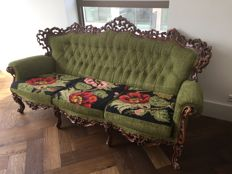 Three-seater sofa and two armchairs in baroque style - France - early 20th century