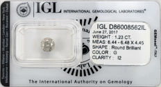1.23 ct brilliant cut diamond  G  I2