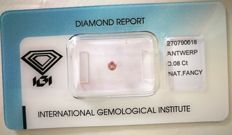 Natural Fancy Intense Pink Diamond 0.08 ct  with IGI cert *** no minimum price***