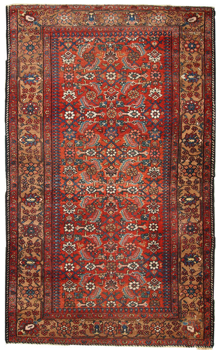 Hand made antique Persian Hamadan rug 4.1' x 6.5' ( 126cm x 200cm ) 1920s