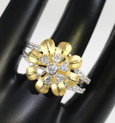 IGI Certified Yellow Gold 0.65 ct. Designer Diamond ring - Ring size : 54 (FR)