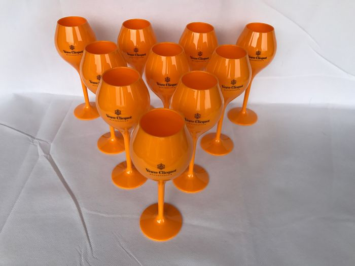 Veuve Clicquot champagne set of 10 acrylic glasses