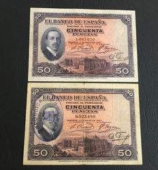 Spain - 2 x 50 Pesetas 1927 and 1931 - Pick 72 and 80
