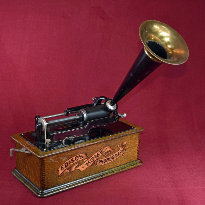Edison Home Phonograph from around 1905. Made in the USA - Orange.