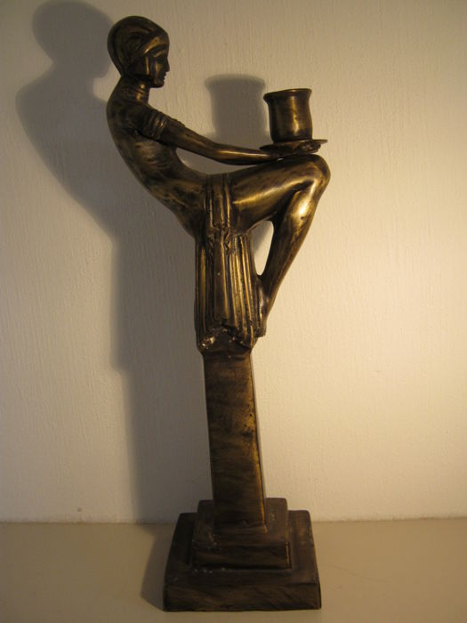 High bronze candlestick - 42.5 cm high and 1.55 kg